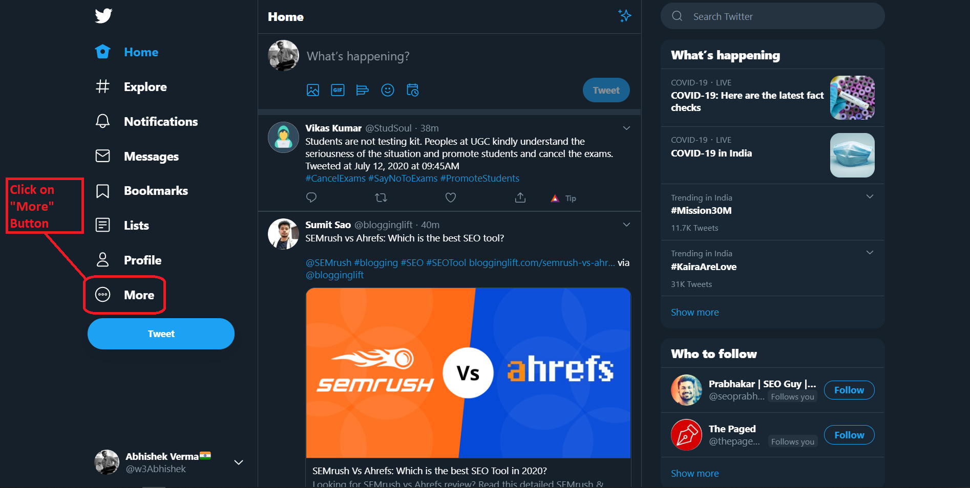 More Options - Recover Deleted Tweets