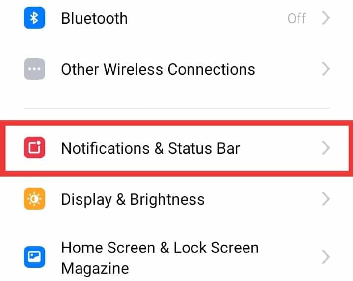 Go to Notifications - Disable Notifications on Realme Phones