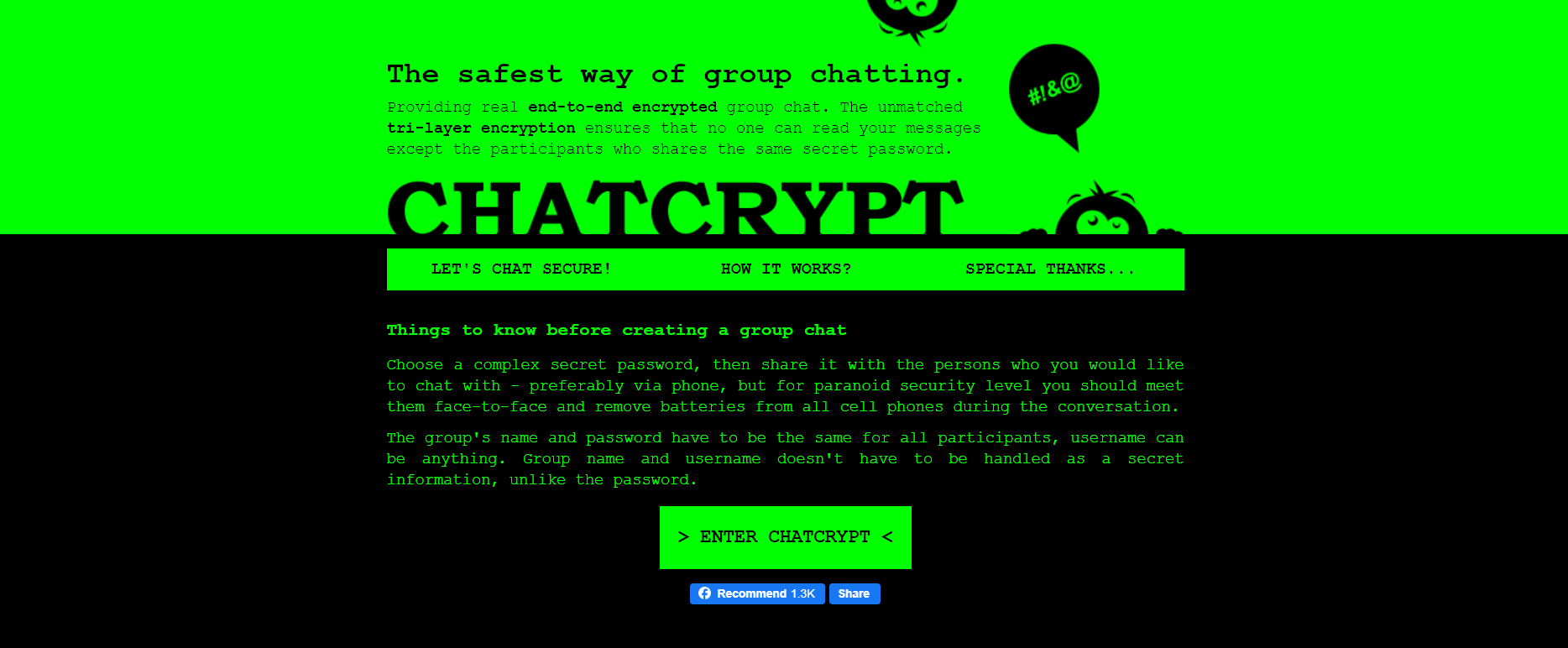 ChatCrypt - Online Disposable Chat Rooms