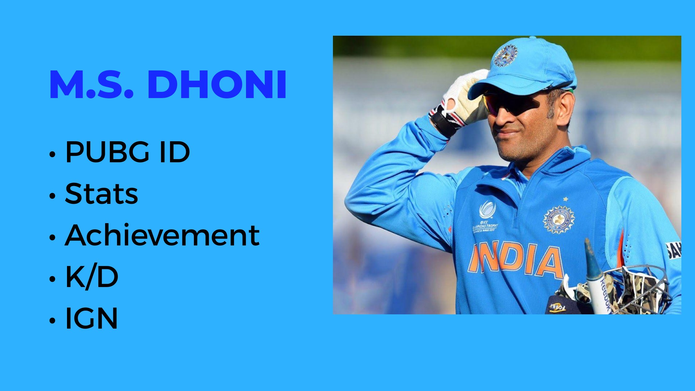 MS Dhoni PUBG ID, STATS, and Player Name